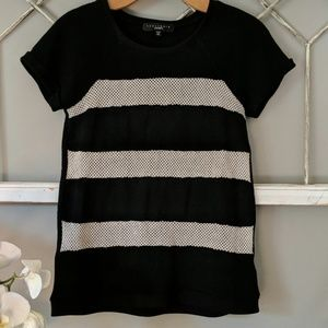 Sanctuary short sleeve sweater mesh stripes XS